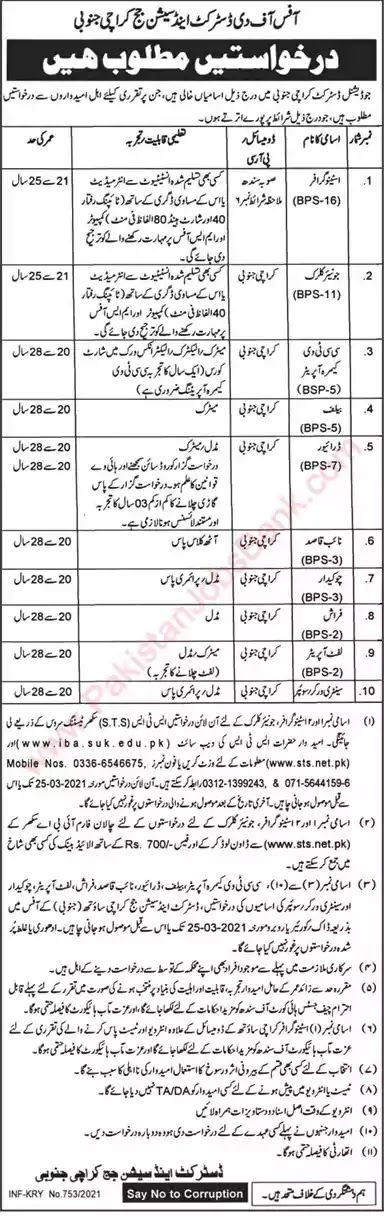 Latest Jobs in Pakistan District and Session Court Karachi South Jobs 2021