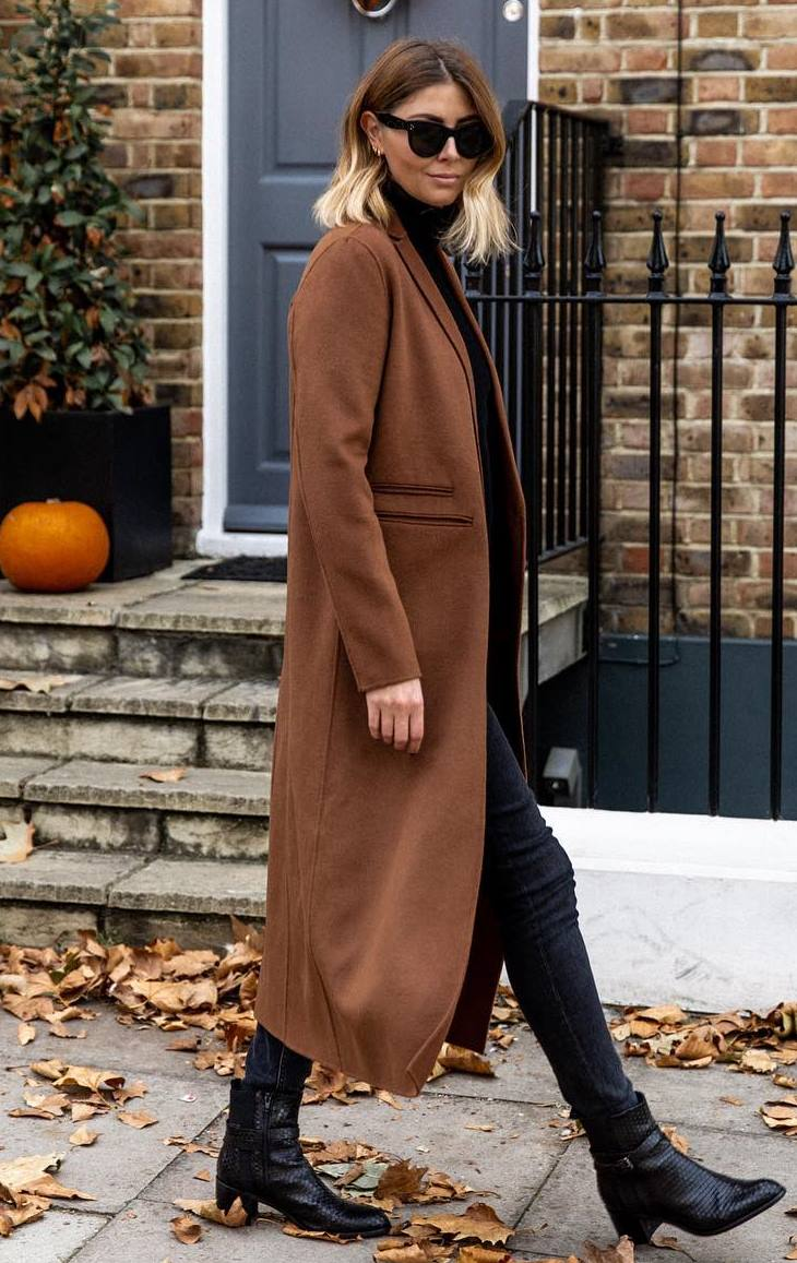 fall fashion trends / brown coat + black jeans + boots