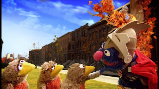 Sesame Street Episode 4305 Me Am What Me Am, Super Grover 2.0 Pulleys, bird family, piano, nest