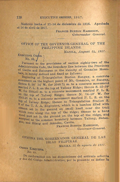 English version of Executive Order 68 series of 1917.