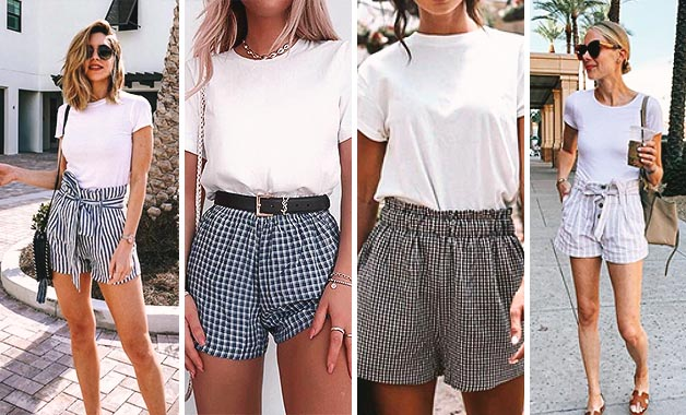 White T-shirt + Waist shorts