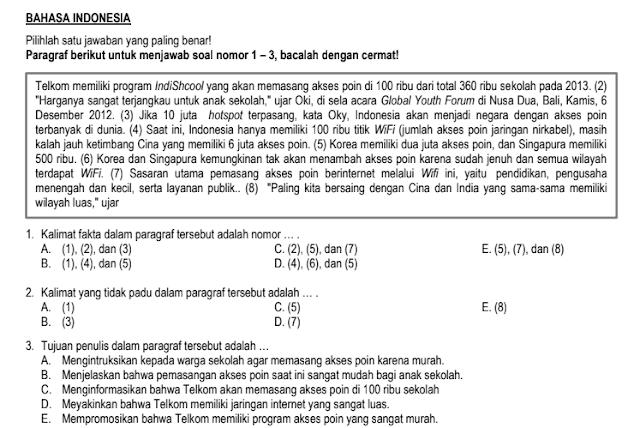 Soal dan Jawaban Ujian Sekolah US Bahasa Indonesia SMA tahun 2022-2023 Jurusan/prodi IPA