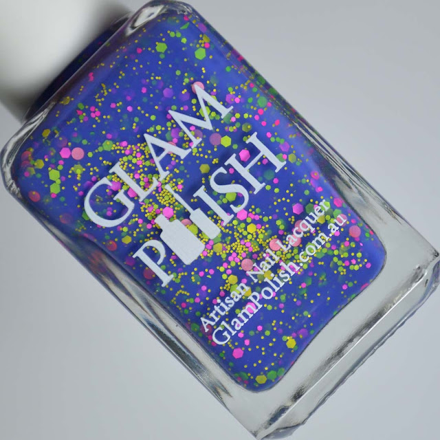 blue crelly nail polish with neon glitter