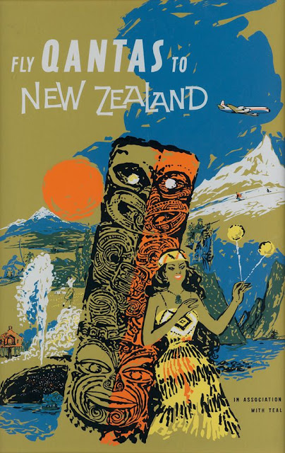 Quantas - New Zealand Vintage Travel Poster