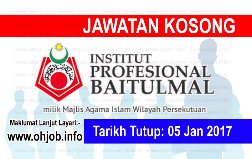 Jawatan Kerja Kosong Institut Profesional Baitulmal (IPB) logo www.ohjob.info januari 2017
