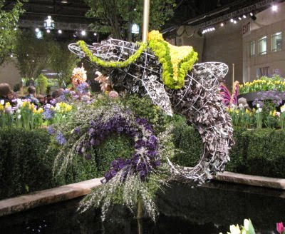 carousel dolphin made of flowers