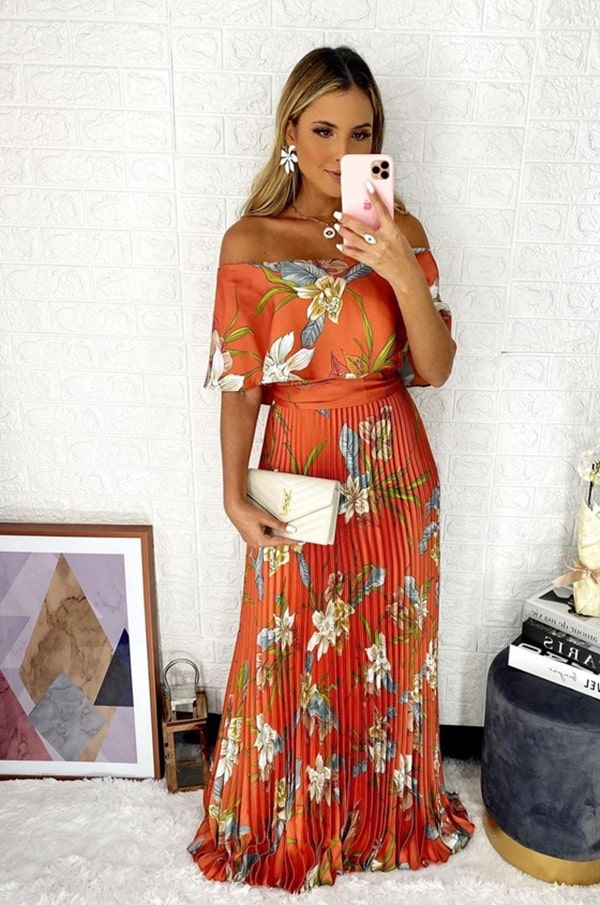 vestido de festa longo terracota com estampa floral