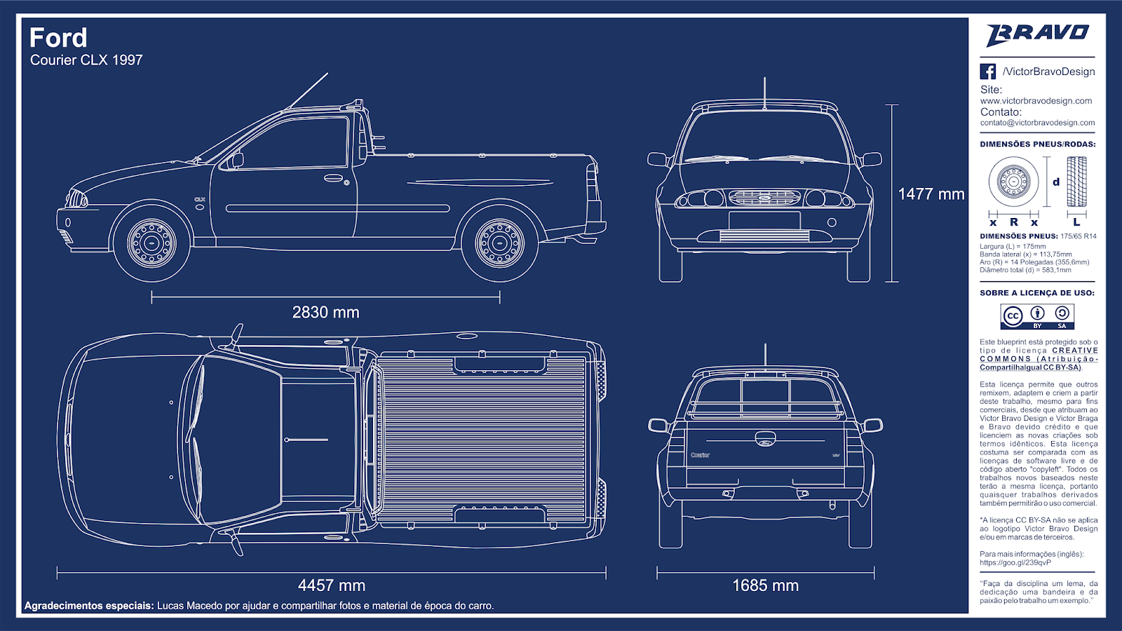 Imagem mostrando o desenho do blueprint do Ford Courier CLX 1997