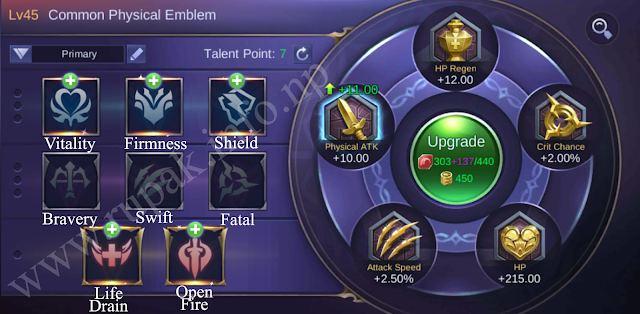 Mobile Legends Common Physical Emblem Details