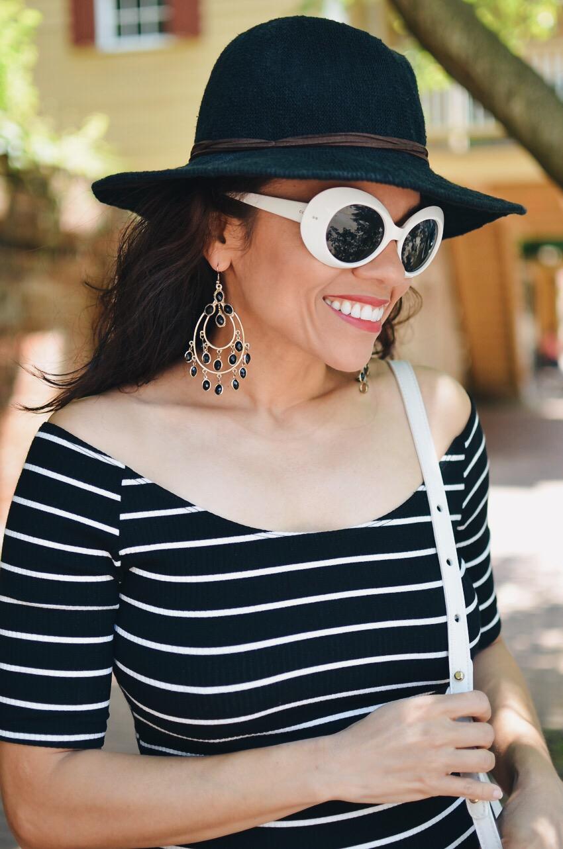White retro sunglasses street style