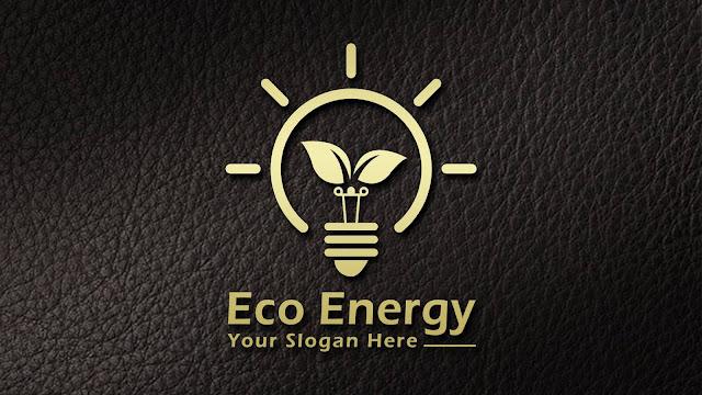 Eco Energy Light Bulb With Leaves Logo Design