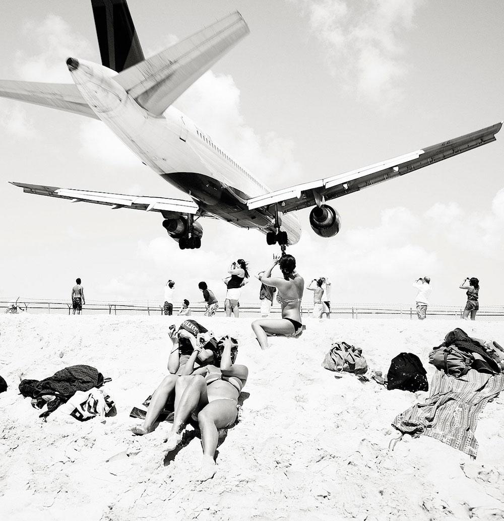 Josef Hoflehner photograph of low planes over beach