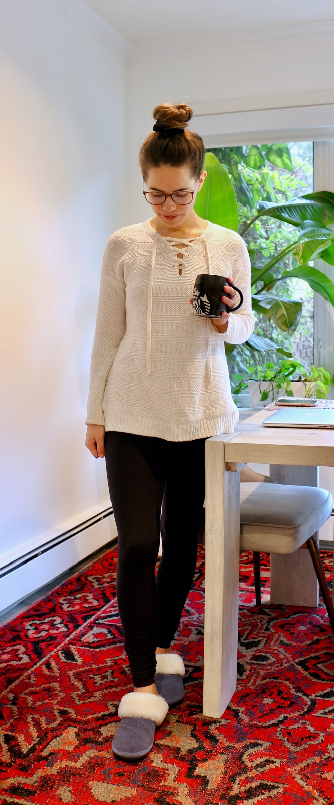 Jules in Flats - Lace-Up Sweater with Leggings (Easy Work from Home Outfit)