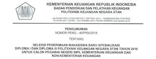 Penerimaan Baru Calon Mahasiswa Baru STAN Kementerian Keuangan