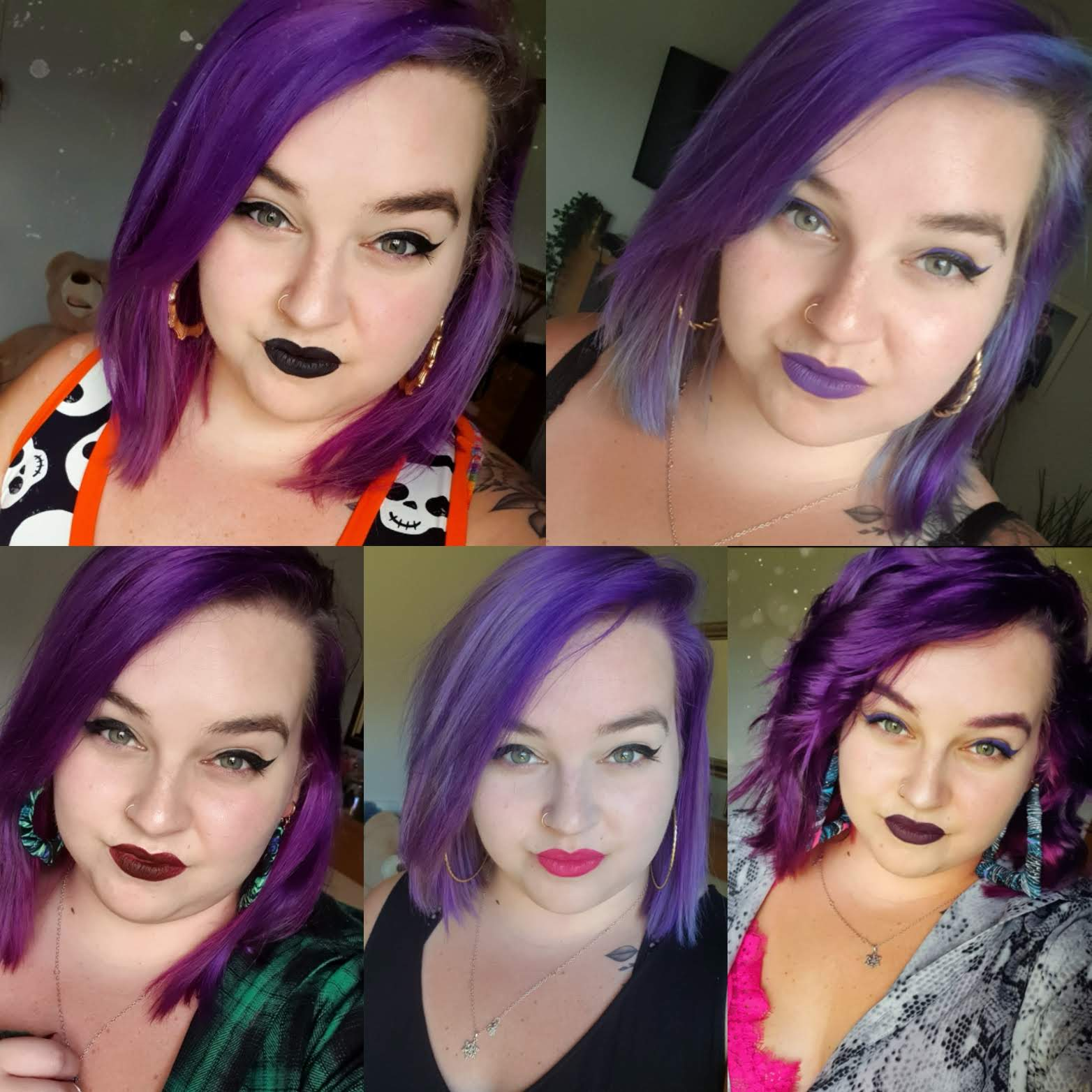 A grid of five selfies of Beth wearing a different lipstick in each one.