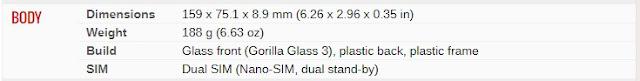 Spesifkasi Samsung Galaxy M21- Berat bodi