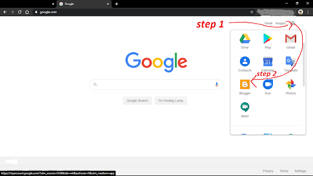 How to find blogger option in google?