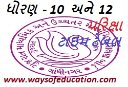 GUJARAT BOARD SSC AND HSC EXAM TIME TABLE 2020