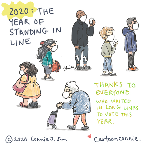 sketchbook illustrations of new yorkers standing in line, drawings by connie sun, cartoonconnie
