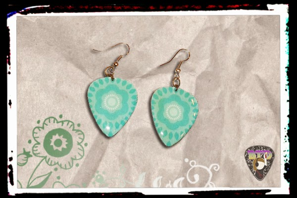 Blue Flowers Guitar Pick Earrings