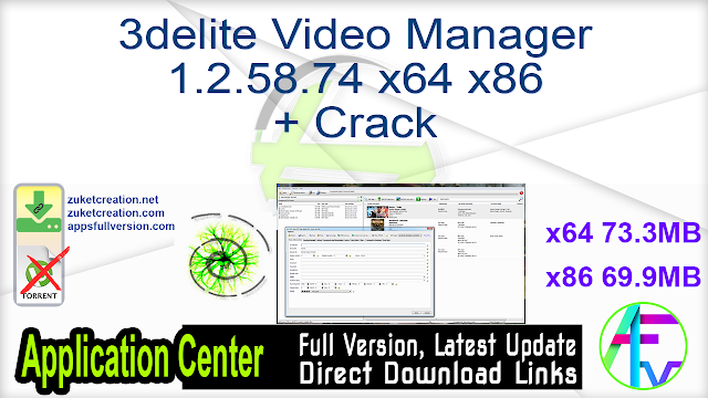 3delite Video Manager 1.2.58.74 x64 x86 + Crack