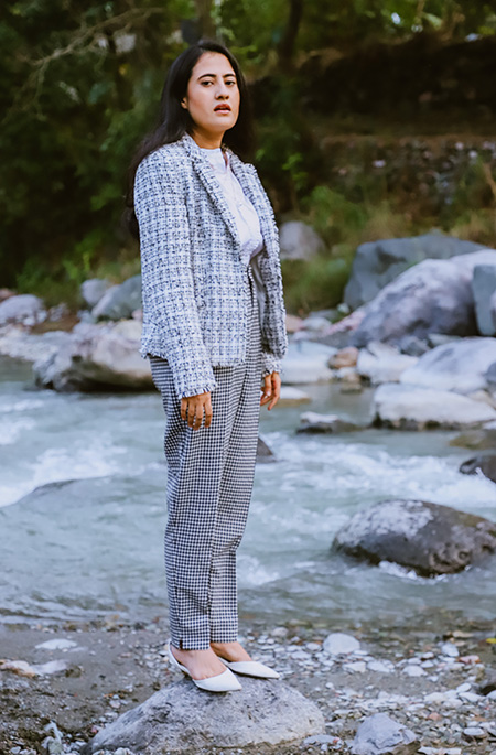 wearing white shirt with gingham pant and tweed jacket for french girl look