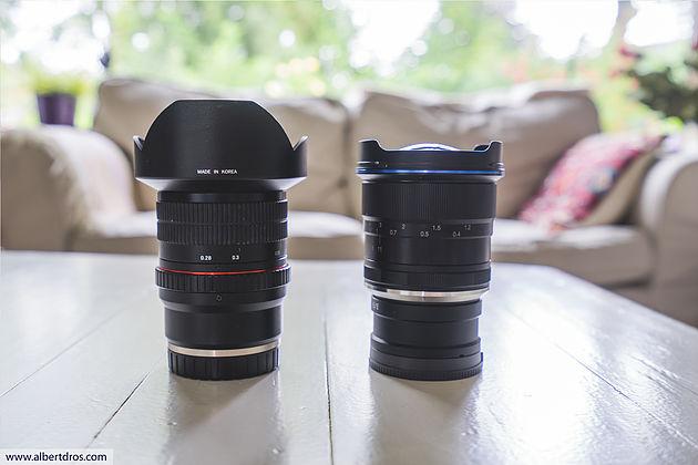 Слева Samyang 14mm f2.8 для Sony E. Справа Laowa 12mm f/2.8 с переходником и без бленды