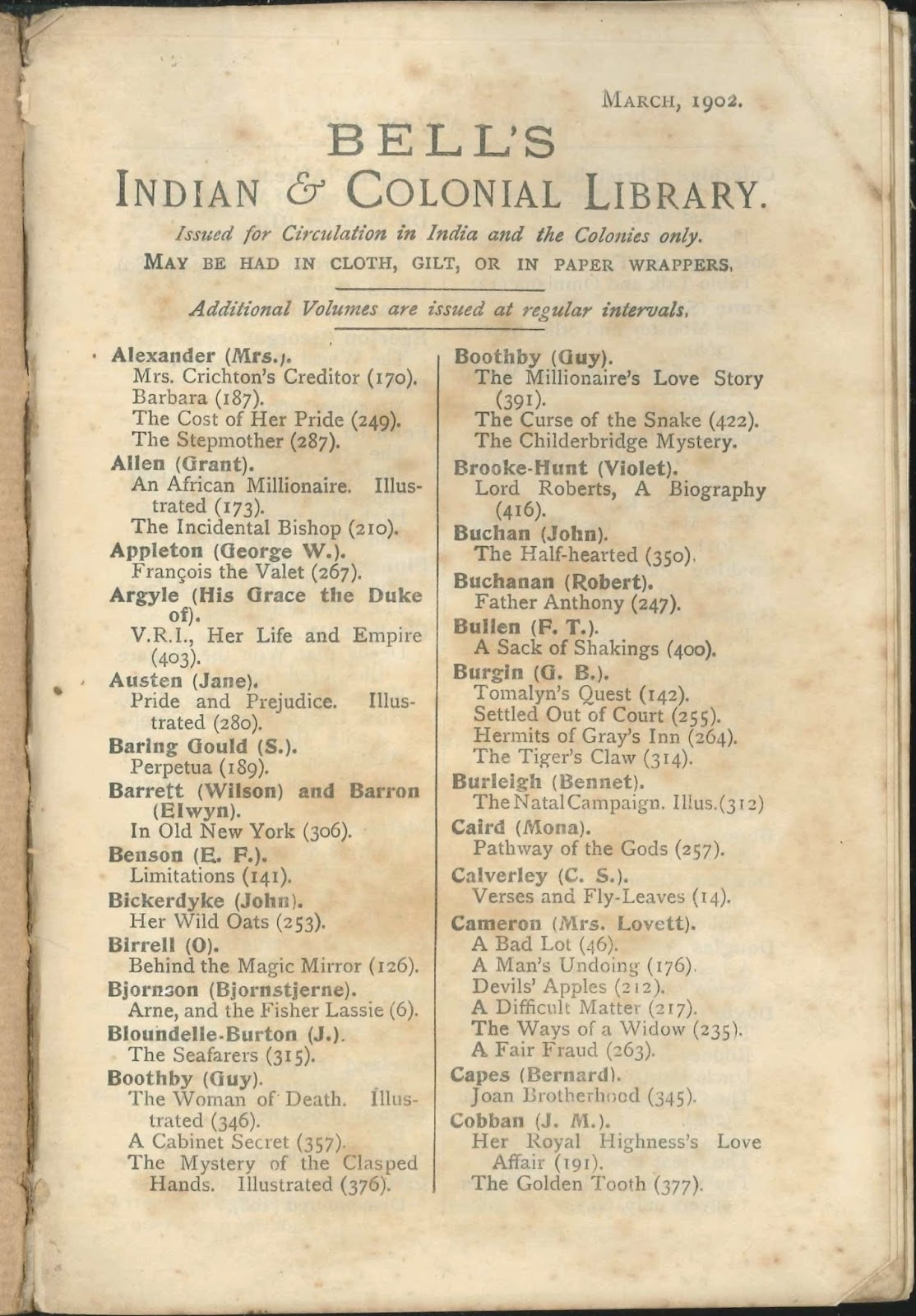 A printed list for Bell's Indian and Colonial Library.