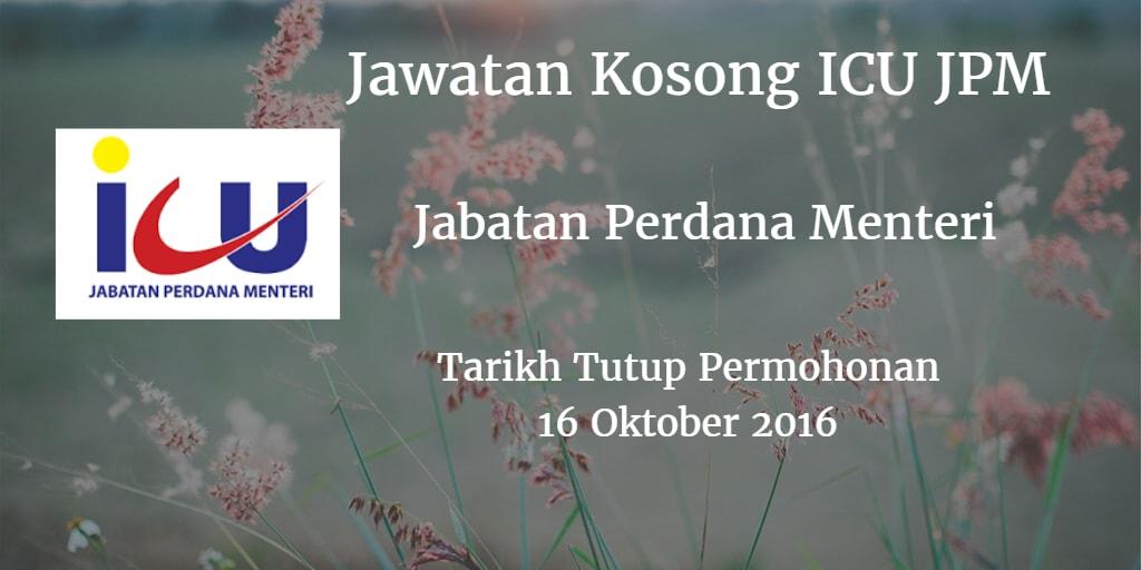 Jawatan Kosong ICU JPM 16 Oktober 2016