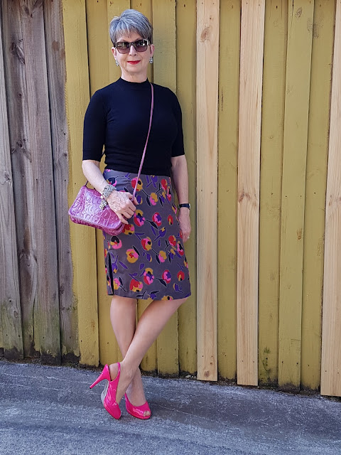 Pencil floral skirt-black top-Ted Baker hot pink patents shoes