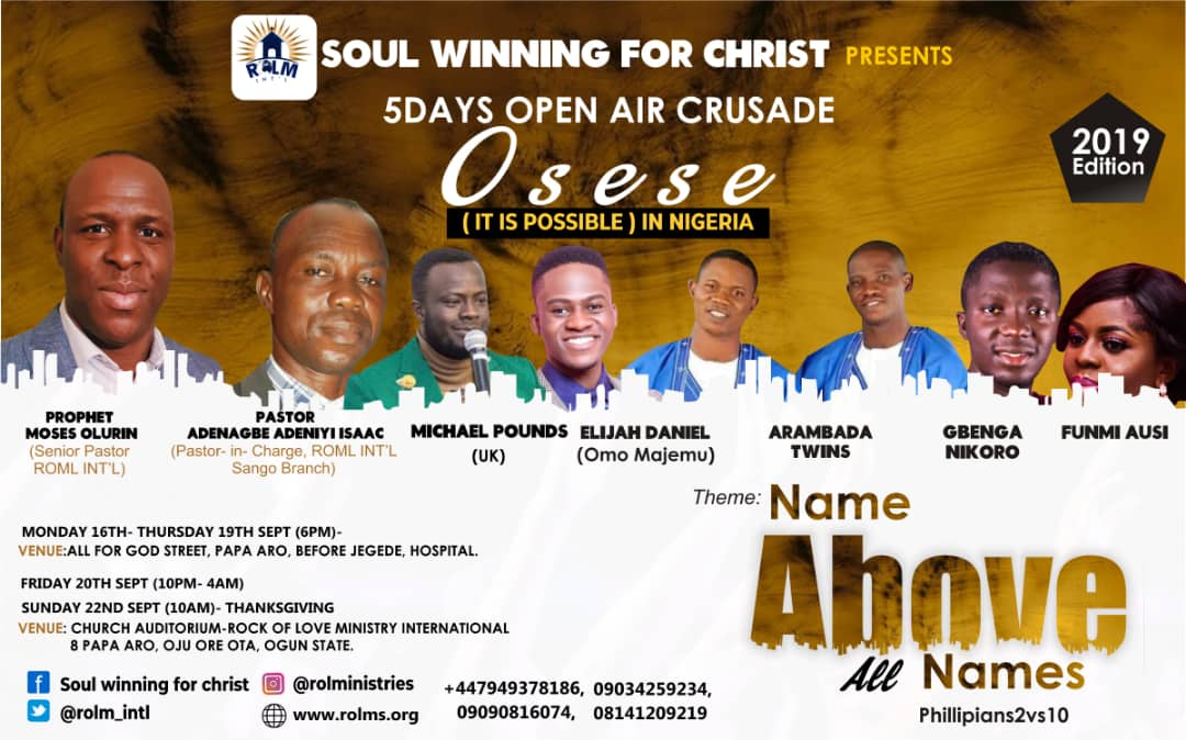 Event: UK Based Prophet Moses Olurin Brings 'Oseese' (It is possible) Double-Event To Nigeria || @Rolm_Intl