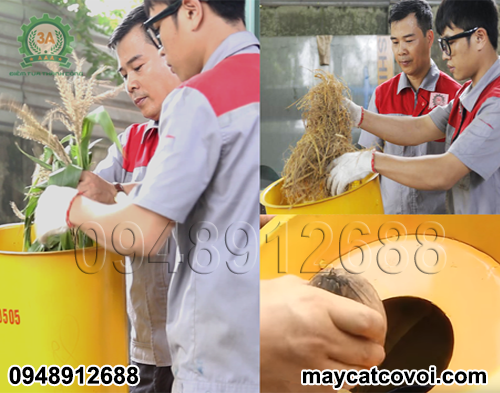 Nhà sáng chế Nguyễn Hải Châu và kỹ thuật viên đang vận hành máy băm vỏ dừa, rơm rạ, ván bóc 3A3Kw