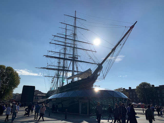 The Cutty Sark Clipper Ship against a blue sky