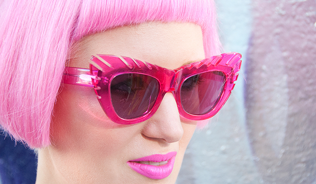 house of holland, pink sunglasses, pink hair