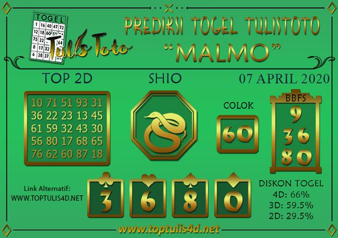 Prediksi Togel MALMO TULISTOTO 07 APRIL 2020
