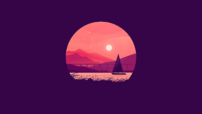 Free boat wallpaper under the Moon Minimal