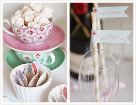 Meringues in a teacup and straw flags by Paper & Party Love
