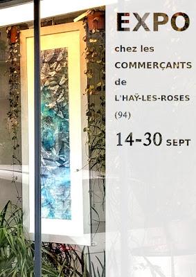 vitrine peinture fleurs exposition commercants L'Hay les roses agnes au pinceau dansant grégis libellules