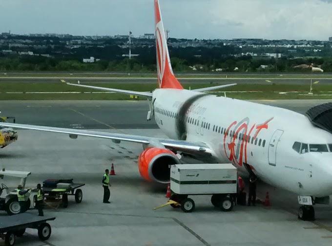 Turbina de avião da Gol pega fogo durante decolagem no Ceará