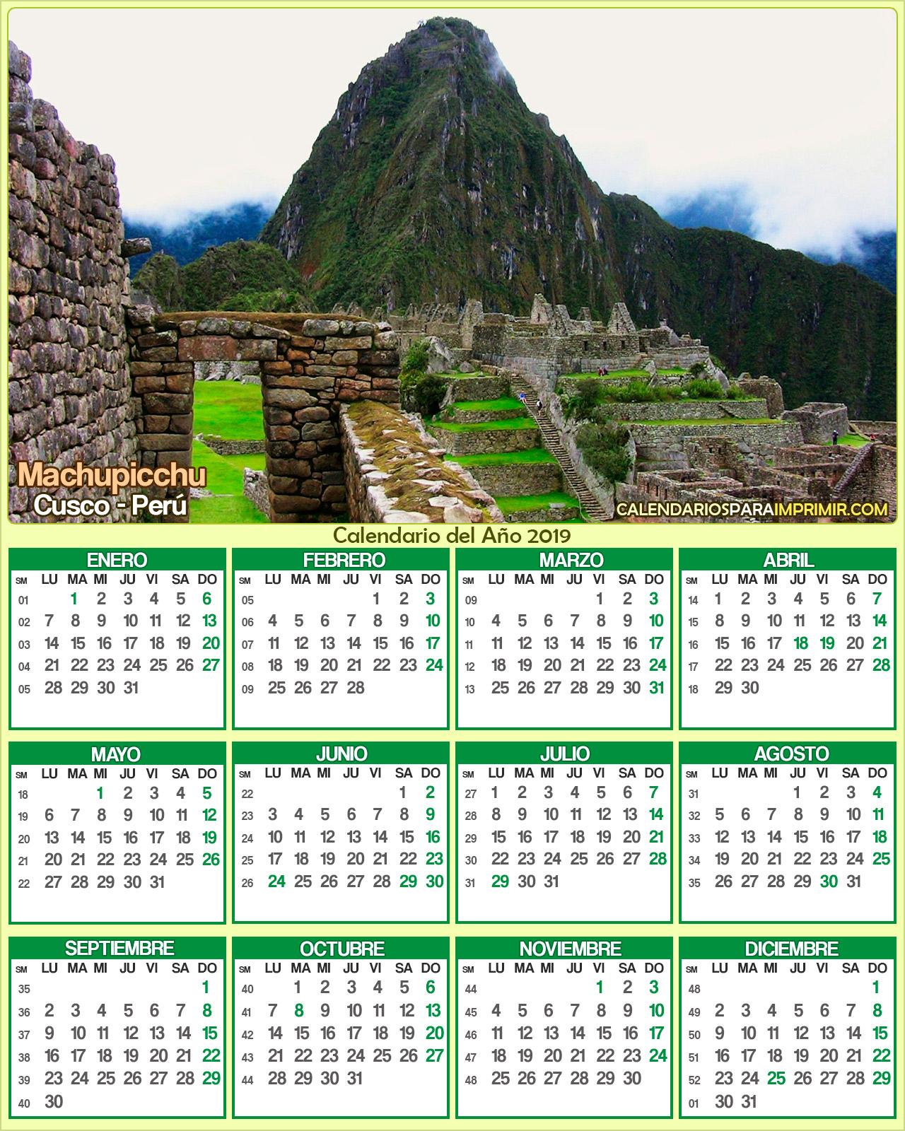 Calendario De Octubre 2019 Peru.Calendarios De Peru 2019 Calendarios Para Imprimir 2019