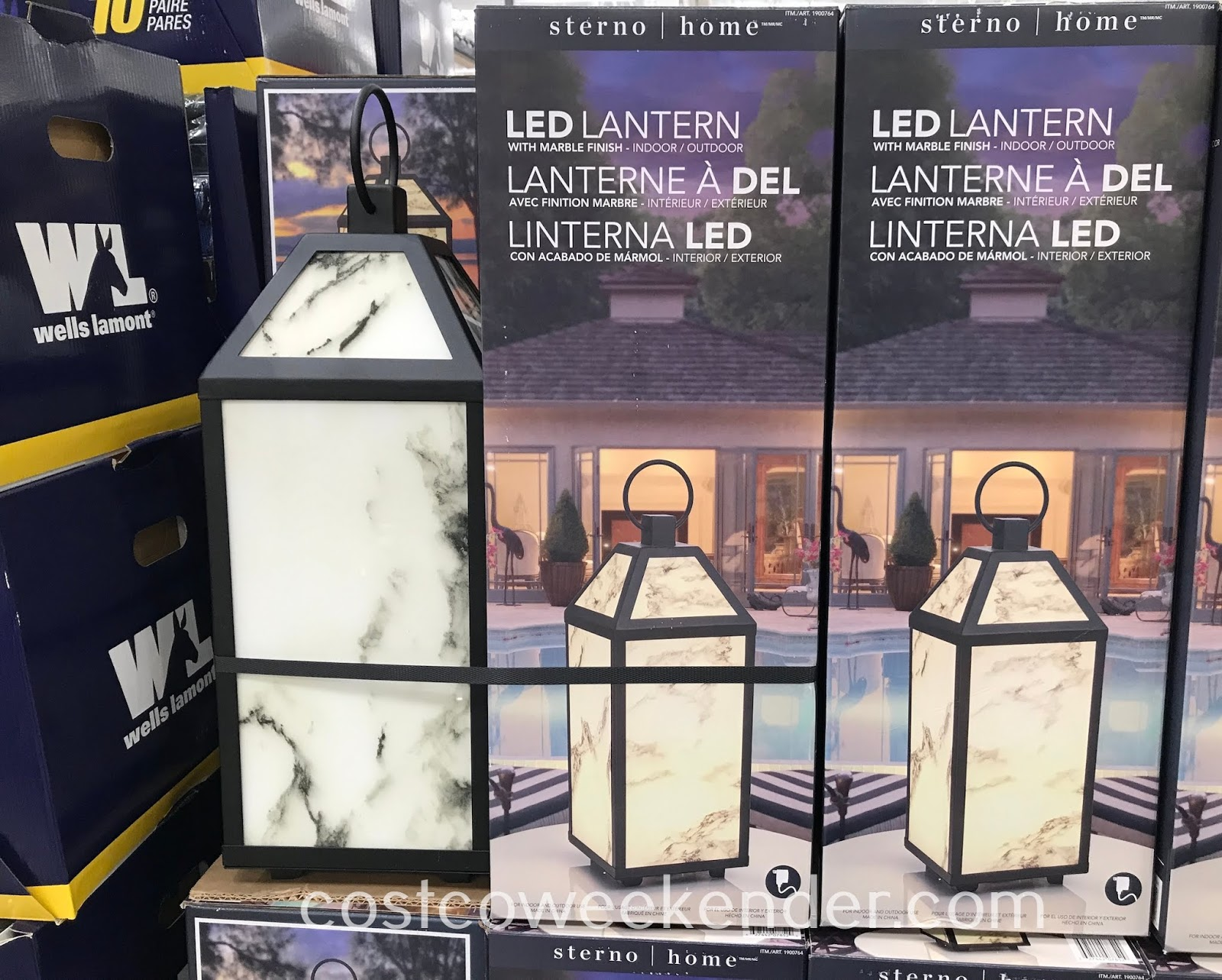 Ensure your backyard or outdoor deck is well lit with the Sterno Home LED Lantern with Marble Finish