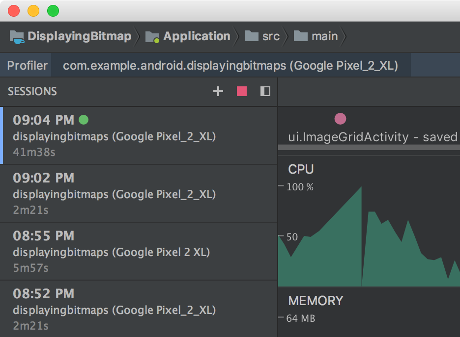- profiler sessions - Android Developers Blog: Android Studio 3.2 Canary