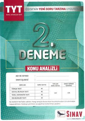 Sınav Yayınları TYT 2. Deneme Sınavı Konu Analizli 5 Deneme Cevap Anahtarı indir