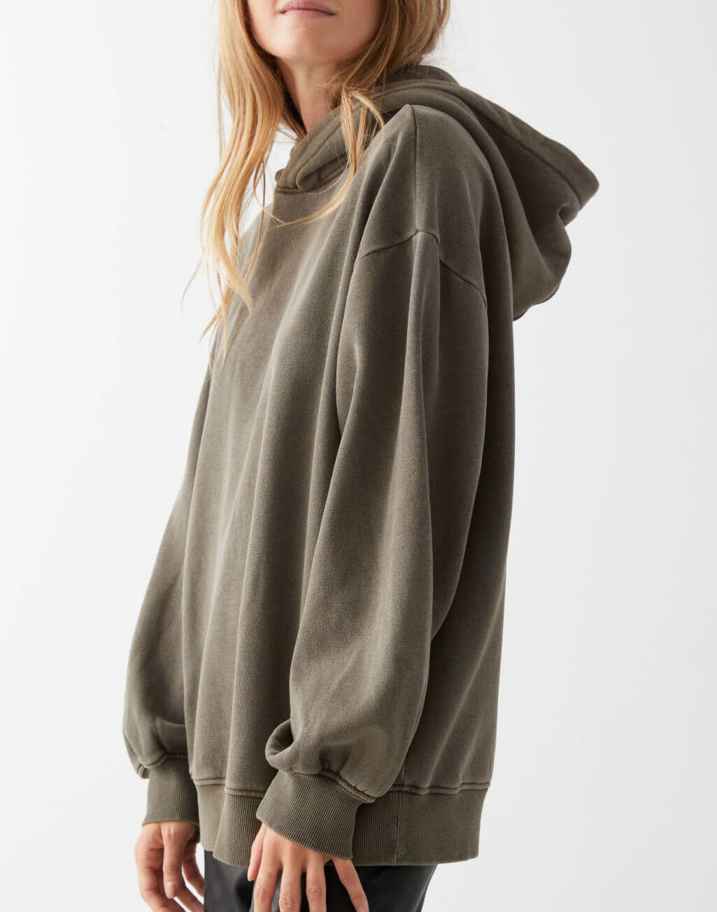 khaki oversized hooded boxy sweatshirt