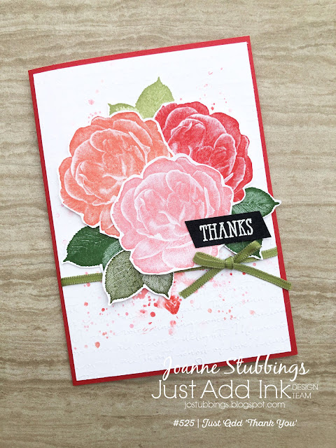 Jo's Stamping Spot - Just Add Ink Challenge #525 Thank You card using Healing Hugs stamp set by Stampin' Up!