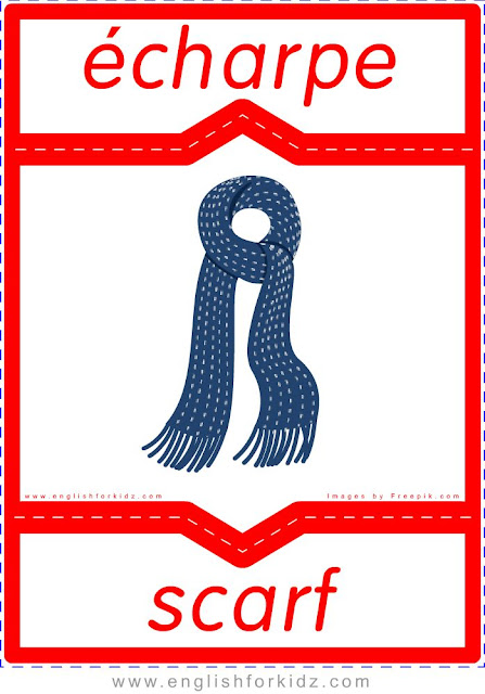 scarf in French, écharpe en anglais, English-French clothes flashcards