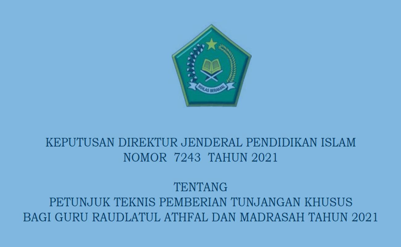 Juknis Pemberian Tunjangan Khusus Guru RA dan Madrasah 2021