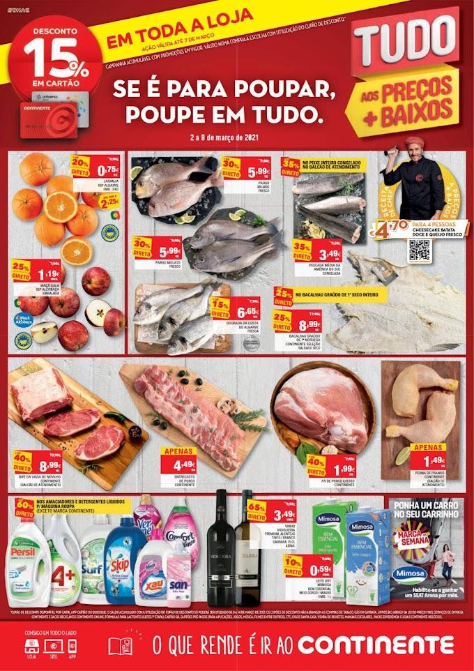 """Folheto Semanal Continente """"Se é para poupar, poupe em tudo"""" - De 2 a 8 de março"""