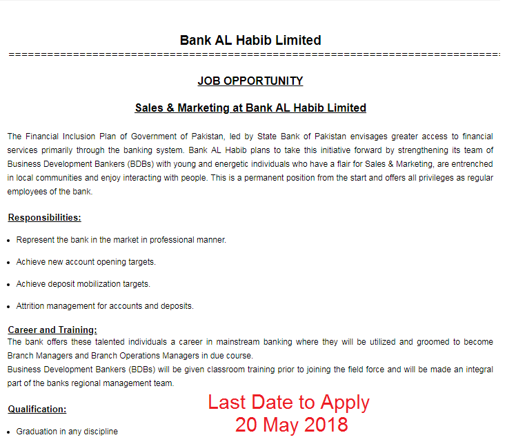 Jobs in Bank AL Habib Limited May 2018 Apply Online for Credit Officer‎ and other