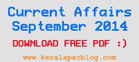 Current Affairs September 2014 Questions and Answers PDF
